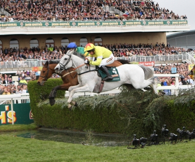Neptune Collonges jumps the Water Jump at the Grand National