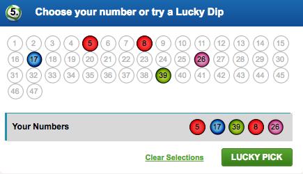 Coral irish Lottery lucky pick